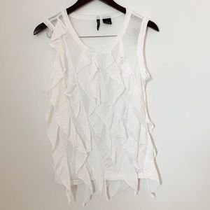 New Directions White Frill Tank top